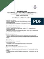 Programa Jornadas 2016 (Cuestiones Actuales Igualdad de Género)