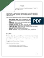 Pumps Characteristics