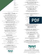 Navi Kitchen Opening Menu 2017