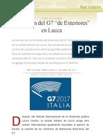 """La ficción del G7 """"de Exteriores"""" en Lucca"""