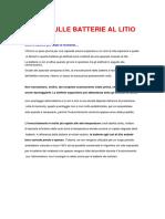 Batterie LITIO Nozioni e Uso