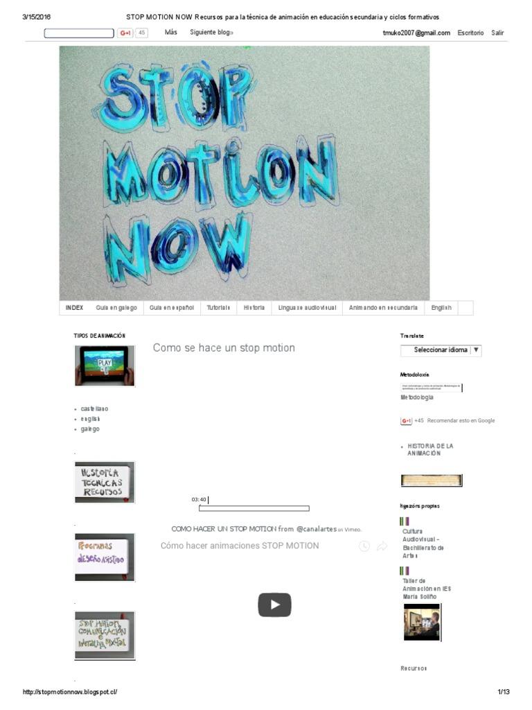 STOP MOTION NOW Recursos Para La Técnica de Animación en Educación ...