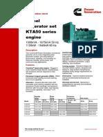 Diesel Generator Set KTA50 Series Engine - Specification Sheet