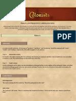 Colonists Errata FAQ V1