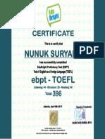 Laporan TOEFL Nunuk Suryanti