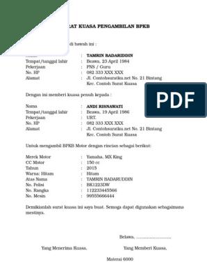 3 Contoh Surat Kuasa Pengambilan Bpkb Terbaru Format Ms Word
