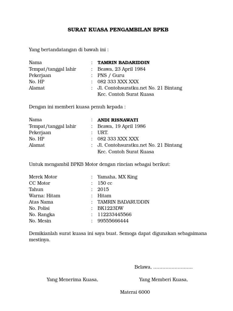 Contoh Surat Kuasa Word File