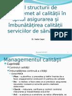 Rolul Structurilor de Management al  Calitatii in spital