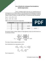 Método corto para el diseño de columnas fraccionadoras multicomponentes