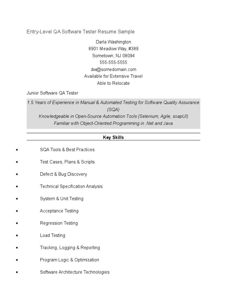 Entry Level Qa Tester Docx Selenium Software Software Bug