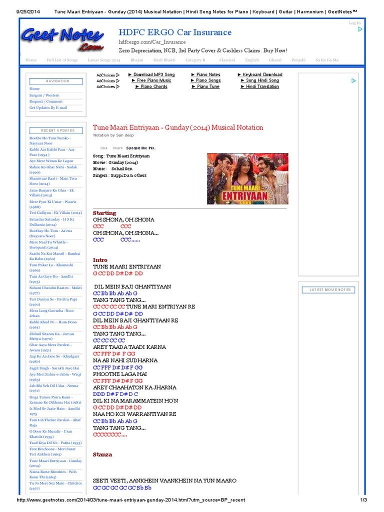 Tune Maari Entriyaan Gunday 2014 Piano Bollywood Entertainment General