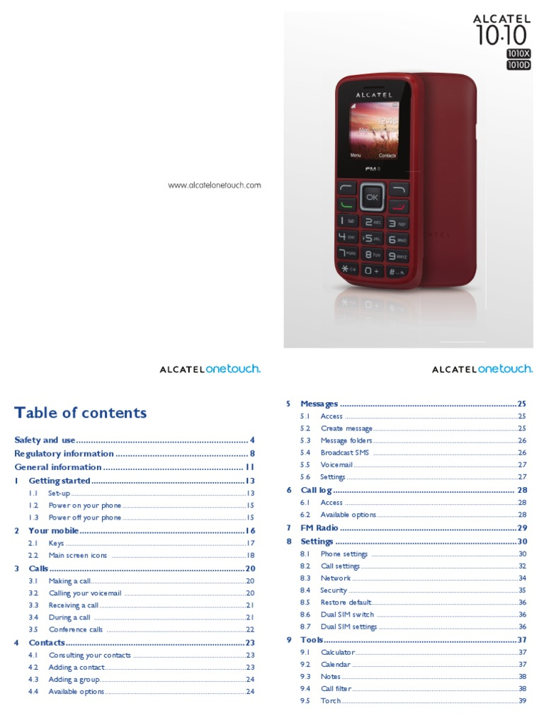 Alcatel One Touch 1010 1010d User Manua | Short Message Service