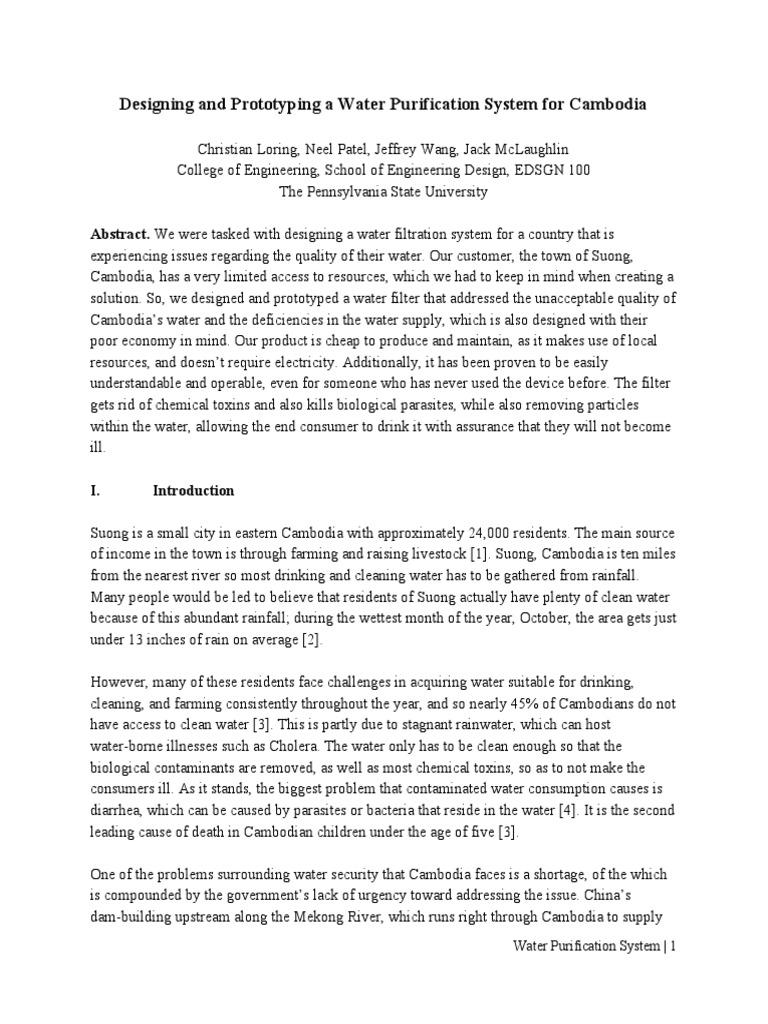 water purification project pdf | Water Purification