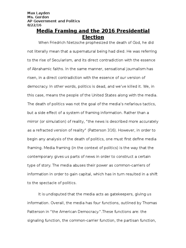 AP Gov Media Framing Essay | Framing (Social Sciences) | Msnbc