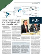 Abertis entra en Asia con la compra de dos autopistas en India