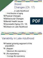 Ch 17 & 18 - Late Adulthood