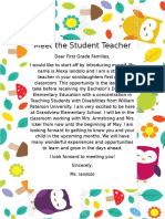 student teacher letter home