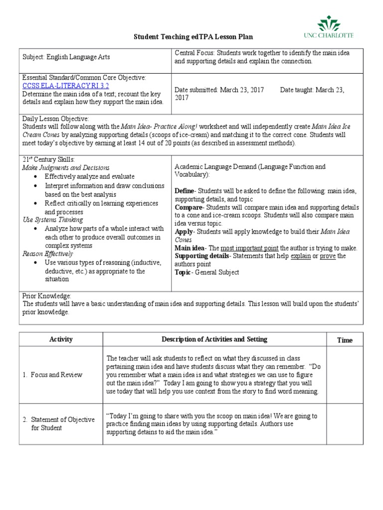worksheet Supporting Details Worksheet main idea lesson plan educational assessment plan