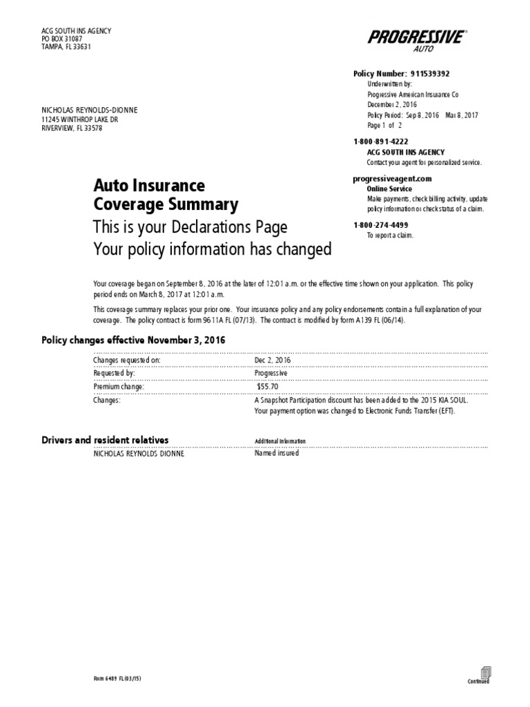 DeclarationsPage.pdf | Deductible | Insurance