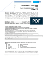 Supplementary Application Form