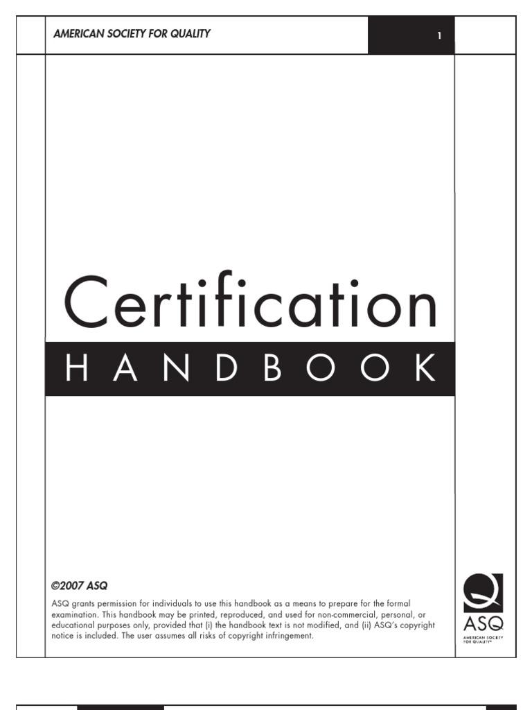 Asq Certification Handbook Vg Test Assessment Evaluation