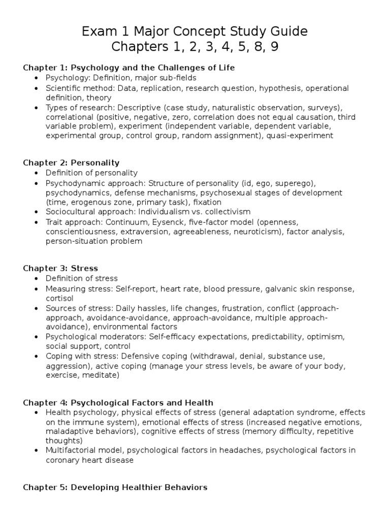 Exam 1 Major Concept Study Guide | Stress (Biology) | Self