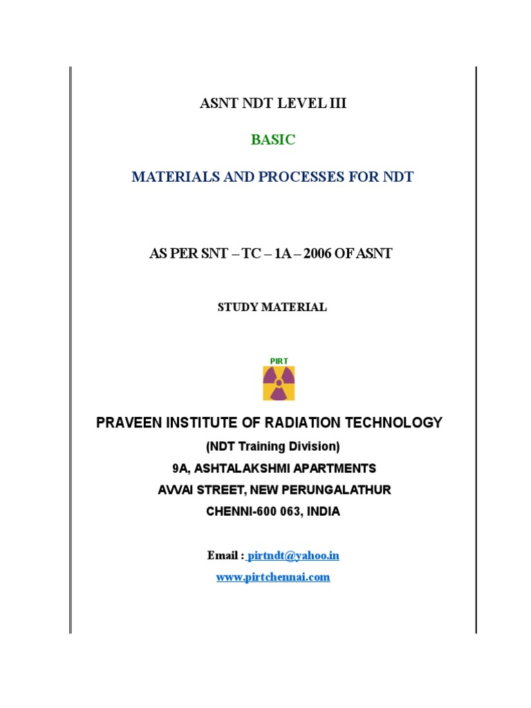 Asnt level iii study material