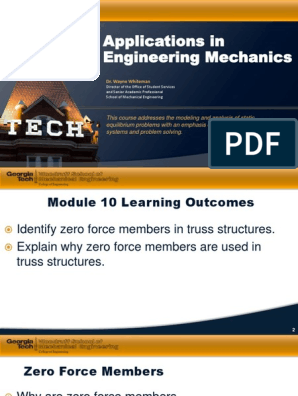 10 Applications in Engineering Mechanics PDF | Truss