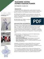 Women Fashion Power 2014 Teacher Exhibition Notes