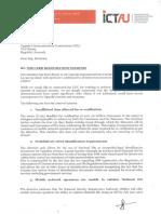 ICTAU letter to UCC on sim card validation