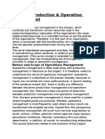 Production and Operation Management Project