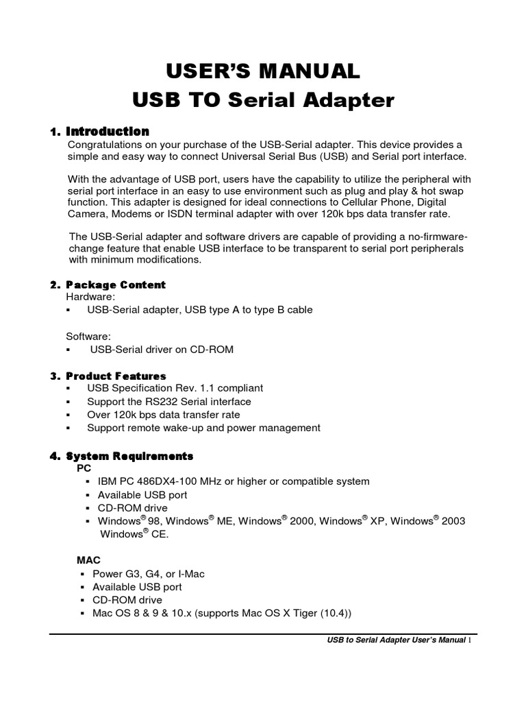 USB to Serial Adapter User's Manual