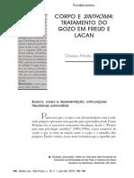 Corpo e Sinthoma Tratamento Do Gozo Em Freud e Lacan