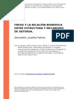 Zanchettin, Joceline Fatima (2012). Freud y La Relacion Biunivoca Entre Estructura y Mecanismo de Defensa