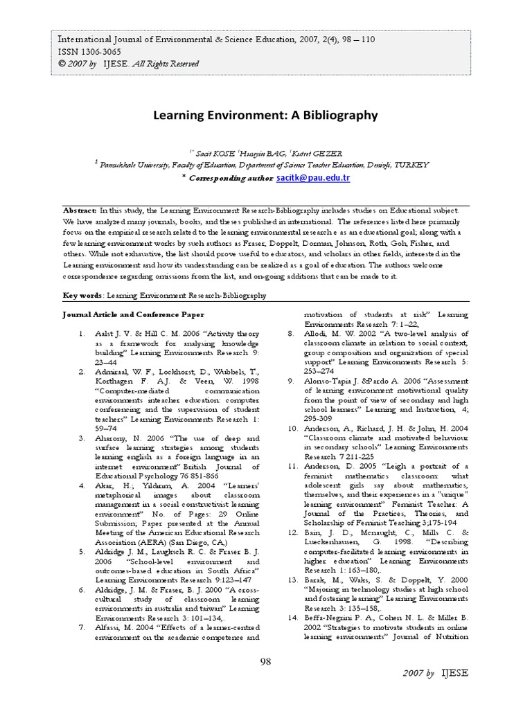 2007 Learning Environment A Bibliography