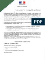 Déclaration en préfecture de la manifestation du 2 avril 2017