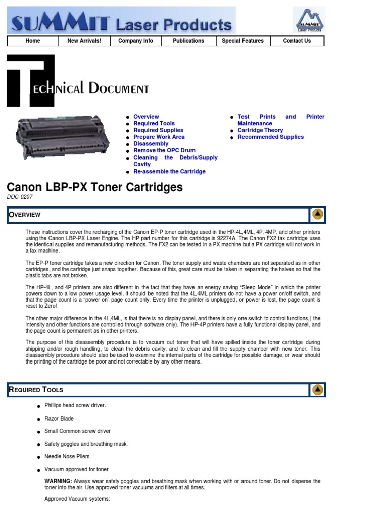 Canon LBP PX Toner Summit Web | Manufactured Goods | Technology