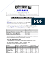 UCO BANK 1000 Clerks Recruitment Notification