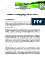 Narrative Report on Classroom Management