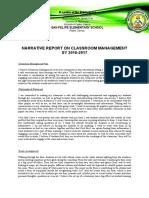 Narrative Report on Classroom Management