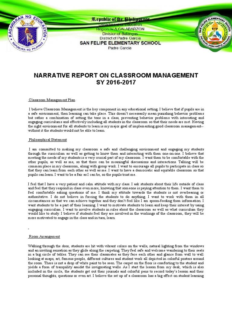 Narrative Report on Classroom Management   Classroom