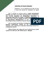 Sample Introduction Speech