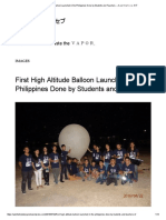 First High Altitude Balloon Launched in the Philippines Done by Students and Teachers.