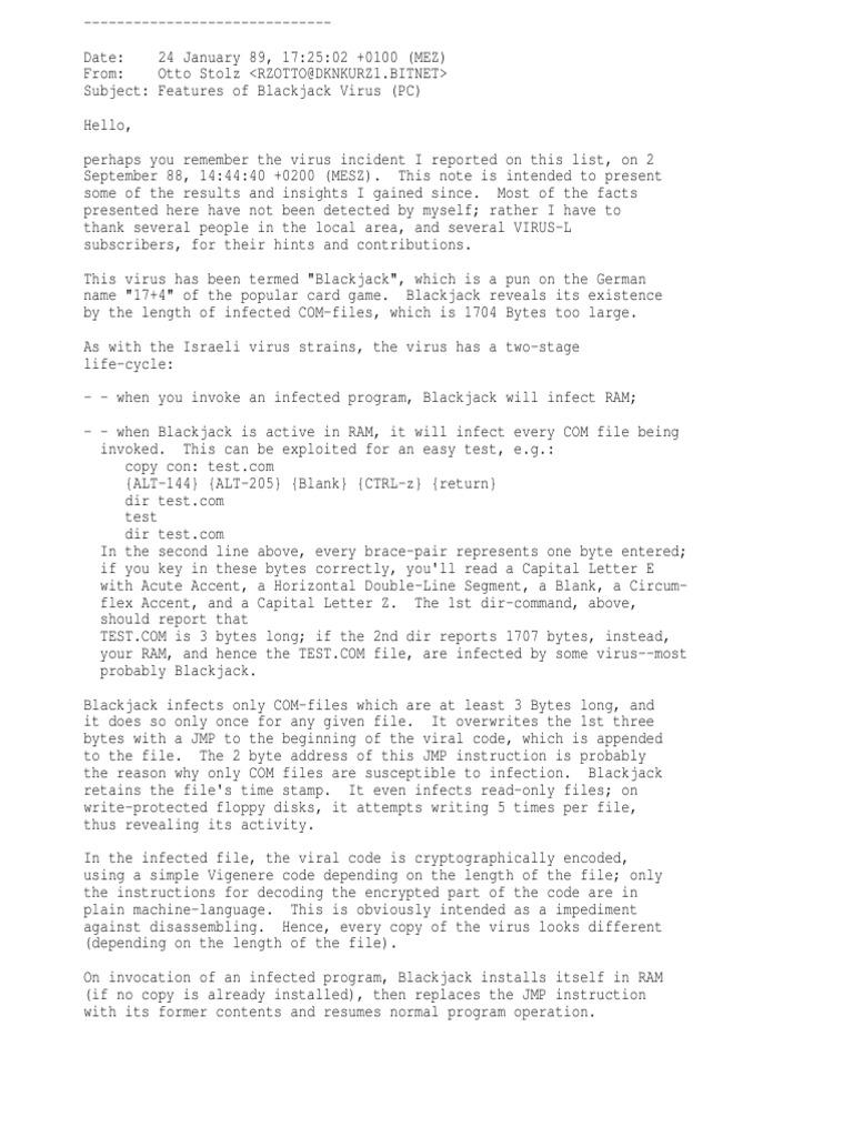 Pcblkjck Computer Virus Computer File