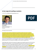 Le Bon Usage de La Politique Monétaire _ Alternatives Economiques