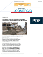 Ecuador conmemorará con misas el primer año del terremoto del 16 de abril | El Comercio
