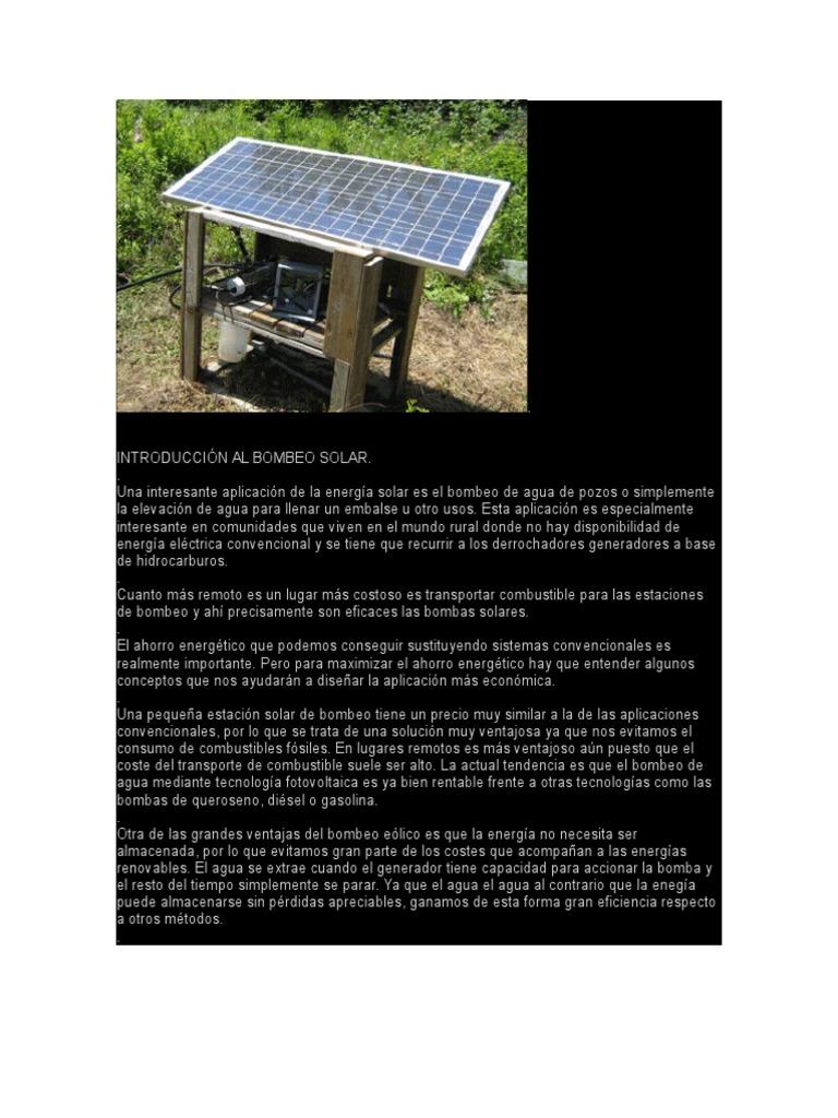 Introducción Al Bombeo Solar   Energía solar   Bomba