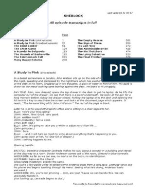 All episode transcripts - in full pdf | Minor Sherlock