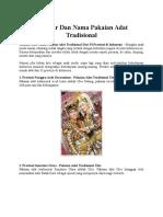 Gambar Dan Nama Pakaian Adat Tradisional