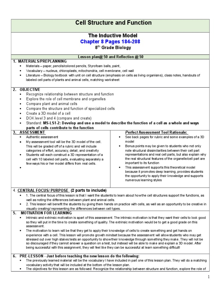 Chapter 8 lesson plan cell biology self improvement ccuart Choice Image